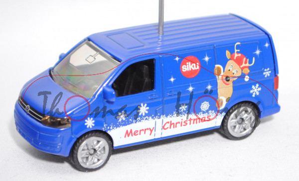 00439 VW T5 facelift Transporter 2.0 TDI, blau, Merry Christmas, m. Stern als Zettelhalter, Werbebox