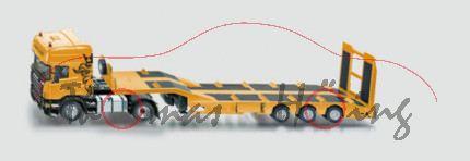 Scania LKW Zugmaschine mit mechanischem Auflieger, chromgelb/schwarz, 1:32, L16
