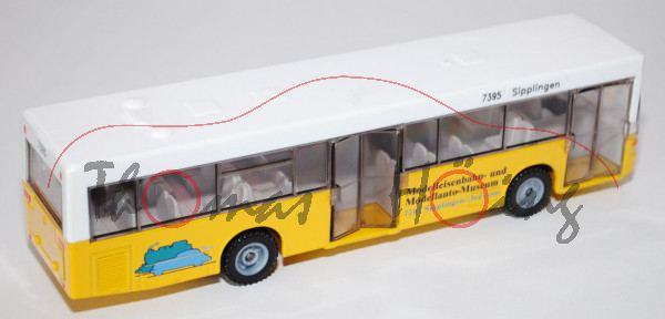 Linienbus Mercedes O 405 N, reinweiß/kadmiumgelb, links Modelleisenbahn- und Modellauto-Museum / 776
