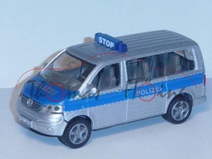 00001 VW T5 Polizei-Mannschaftswagen, Modell 2003-2009, silbergraumetallic/blau, POLIZEI, neuer Druc