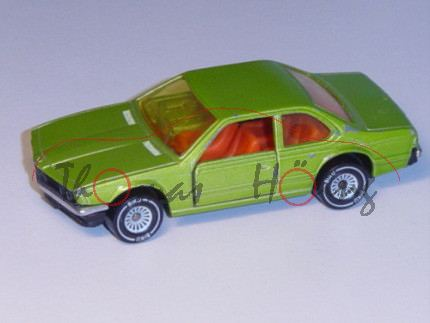 00001 BMW 633 CSi (Typ E24), Modell 1975-1979, gelbgrünmetallic, Glas gelb, B4, Stoßstangen verchrom