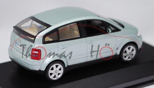 Audi A2 (Typ 8Z, Modell 2000-2005), islandgrün metallic, Minichamps, 1:43, Werbeschachtel (neu)