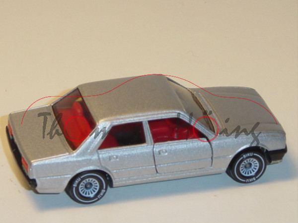 00002 Peugeot 505 STi (Modell 1979-1982), silbergraumetallic, innen verkehrsrot, Lenkrad schwarz, Ve