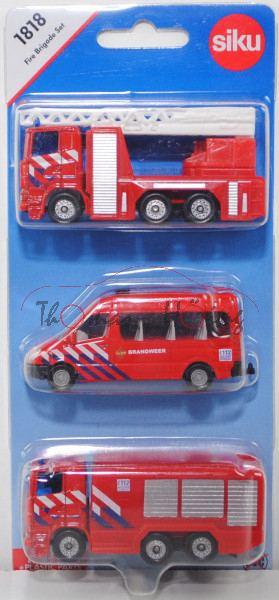 00302 NL Fire Brigade Set mit: 2x Scania R380 + Mercedes-Benz Sprinter II, BRANDWEER, P29e