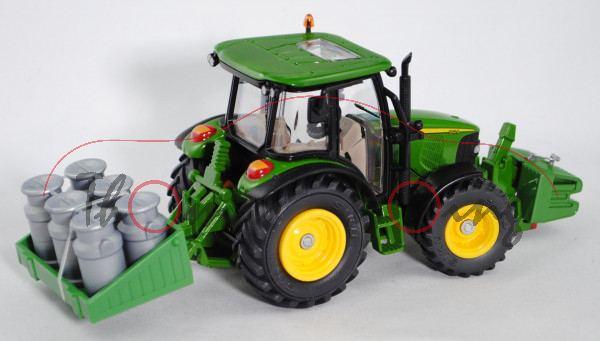 John Deere 5820 Traktor (Modell 2003-2008) mit Transportpritsche und Frontgewicht, smaragdgrün, Felg