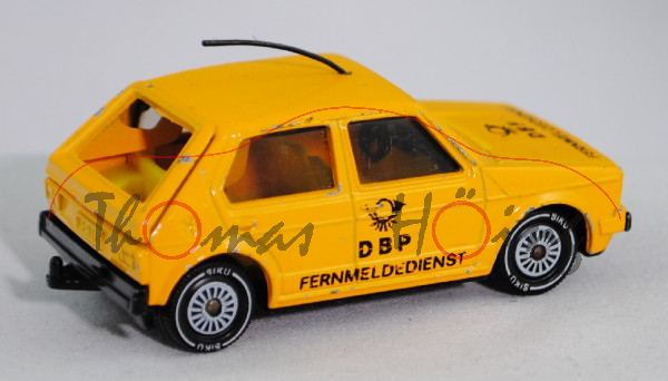 VW Golf I (Typ 17, Modell 1978-1980) DBP-Fernmeldedienst, kadmiumgelb, innen zinkgelb, Lenkrad schwa