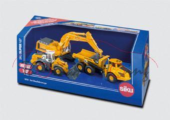 Set Baustellenfahrzeuge bestehend aus: Liebherr Hydraulikbagger, chromgelb/grau; Liebherr Radlader,