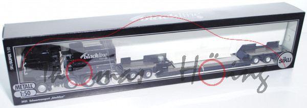 MAN Schwertransporter mit Tiefladeanhänger, schwarz, blackline design by siku, Werbeschachtel