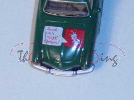 VW Karmann Ghia Cabrio (Typ 14, Modell 1966-1970), laubgrün, Druck Lasst uns nicht hängen auf der Mo