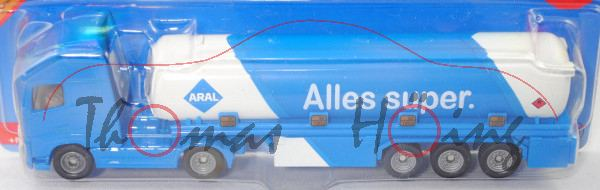 00002 Volvo FH16 750 Globetrotter-XL (3. Gen., Mod. 13-) mit Tankauflieger, blau/weiß, ARAL, P29e