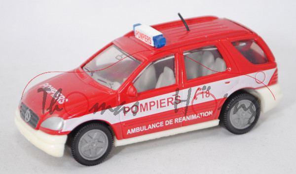 00100 F Mercedes ML 320 (Typ W 163, Modell 1997-2001) Feuerwehr-Kommandowagen, rot/weiß, POMPIERS