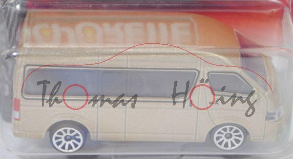 Toyota HiAce Commuter (5. Gen., Typ H200, Fl. 2016, Mod. 16-18), champagnermet., majorette, 1:69, mb