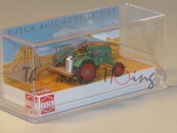 Traktor Kramer KL 11 mit Holz-Laderampe und Michkanne, grün, BUSCH, 1:87, mb