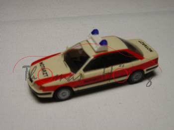 Audi 100 Notarzt, hellelfenbein/rot, Rietze, 1:87