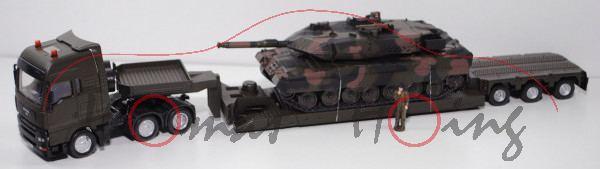 00001 MAN TGA (Mod. 04-07) Schwertransport + Kampfpanzer, grauoliv/schwarz+flecktarn, Knopf grauoliv