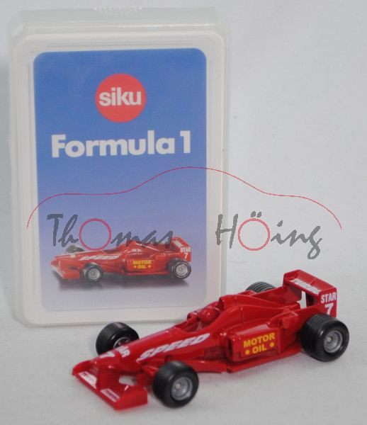 00600 GB Formula 1 Quartett mit Formel 1 Rennwagen, karminrot, ca. 1:55, SIKU SUPER / TOP ASS, P28b