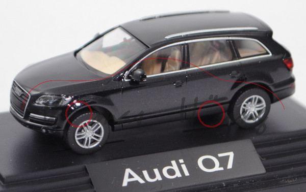 Audi Q7 4.2 FSI quattro (Typ 4L, Modell 2005-2009), phantomschwarz perleffekt, Wiking, 1:87, PC-Box