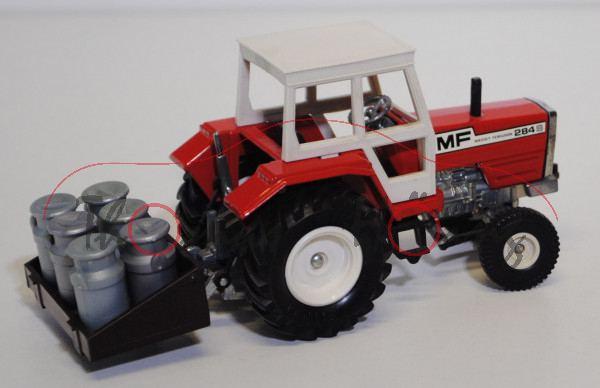 Massey Ferguson MF 284 S Traktor mit Kannenhalter, verkehrsrot, kleine Vorderräder, oberer Teil vom