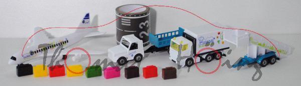 00000 Flughafen Set bestehend aus: Flugzeug+Gangway+Scania LKW+Zugfahrzeug mit Anhänger, L16nmpK
