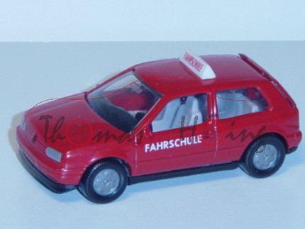00001 VW Golf III 1.8 GL (Typ 1H, Dreitürer, Modell 1991-1995) Fahrschule, karminrot, innen seidengr