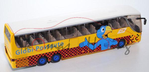 03900 Setra S 417 HDH Topclass 400 Reisebus, kadmiumgelb/perlweiß, Globi-Postauto sowie Posthorn, Pa
