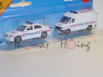 00100 F Polizei Set bestehend aus BMW 545 i und Mercedes Sprinter (neu), reinweiß, POLICE, P28, F