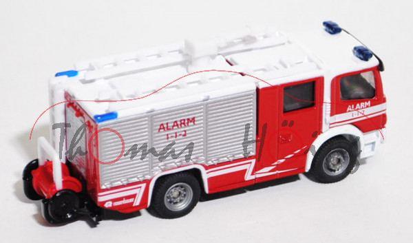 00800 Mercedes Feuerwehr Tanklöschfahrzeug, karminrot/reinweiß, ALARM / 1-1-2, 1:87, L17mK, DK