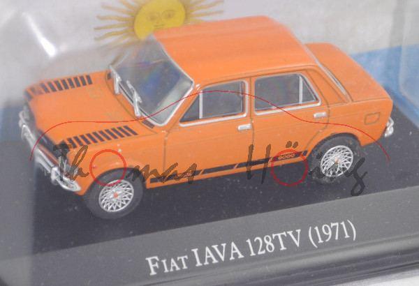 FIAT 128 IAVA TV 1100 (1. Serie, Modell 1972-1973), gelborange, EDITION ATLAS, 1:43, Hauben-Blister