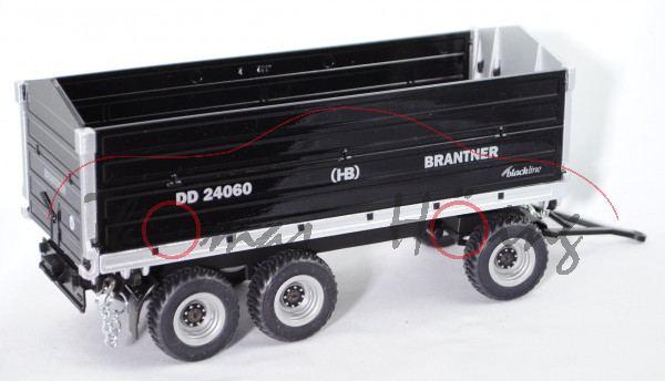 00401 HB BRANTNER Dreiachs-Dreiseitenkipper DD 24060/2 mit Stabilator-Aufbau, schwarz/weißaluminiumm