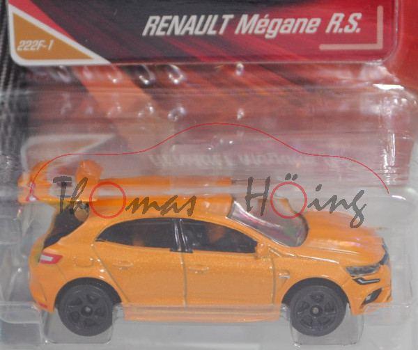 Renault Mégane R.S. (4. Gen., Typ IV, Mod. 2018), narzissengelbmet., Nr. 222F-1, majorette, 1:63, mb
