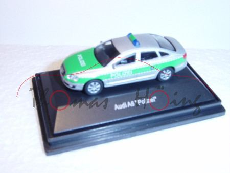 Audi A6 Polizei, silber/grün, POLIZEI, Mj 2004, Schuco, 1:72, PC-Box
