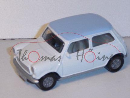 00604 Mini Cooper (Typ MK VI), Modell 1992-1996, reinweiß, Dach lichtblau, Lenkrad links, GB
