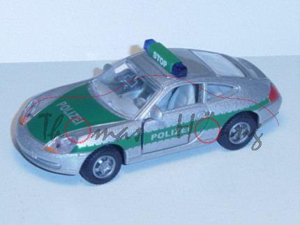 00003 Porsche 911 Carrera (Typ 996) Autobahn-Streifenwagen, Modell 1997-2001, silbergraumetallic/grü