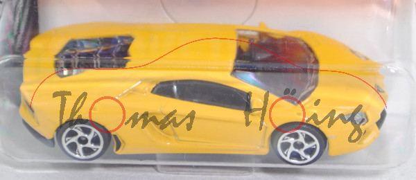 Lamborghini Aventador LP 700-4 (Modell 2011-), gelb, 5-Speichen-Felge chrom, majorette, ca. 1:64, mb