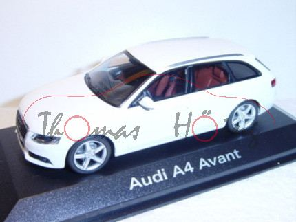 Audi A4 Avant, Mj 2008, ibisweiß, Minichamps, 1:43, Werbeschachtel