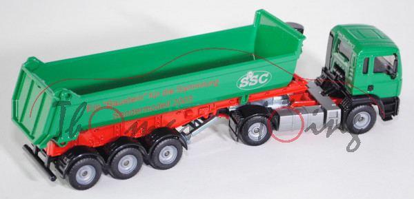 SSC - MAN TGA 18.460 M Halfepipe-Sattelkipper, Modell 2000-2007, grün/rot/grau, L17