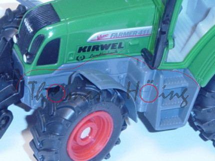 Fendt Favorit 411 Vario, laubgrün, Druck KIRWEL / Landtechnik auf den Seiten der Motorhaube und hint