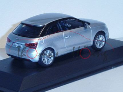 Audi A1, Mj. 2010, eissilber, Kyosho Corporation, 1:43, Werbeschachtel
