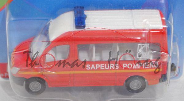 00100 F MB Sprinter II (NCV 3, W 906, Mod. 06-13) Command Car, rot/weiß, SAPEURS POMPIERS, P29e