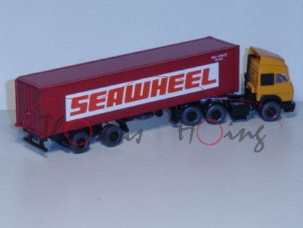 Iveco Container Sattelzug, pastellorange/schwarz/rubinrot, SEAWHEEL, Wiking, 1:87, mb
