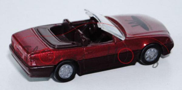 Mercedes 500 SL (Baureihe R 129), Modell 1989-1992, rotmetallic, B7, WEGMAN, Druck schwarz