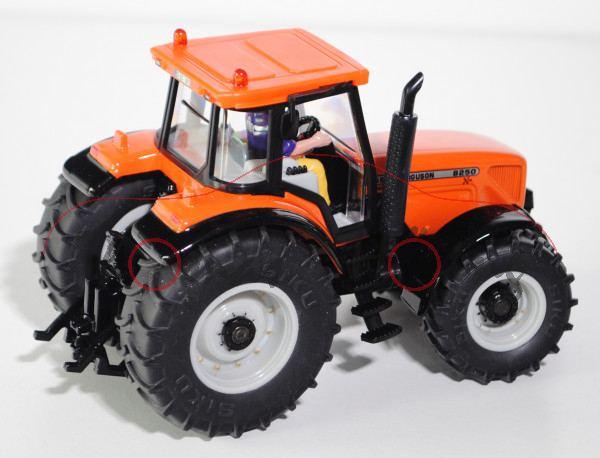 00402 SSC Massey Ferguson MF 8250 Xtra Traktor (Mod. 02-04), reinorange, Felgen achatgrau, Radnarben