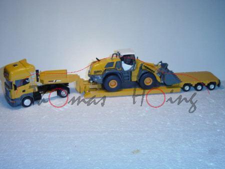 Scania R 620 mit Auflieger und Radlader, chromgelb, L17