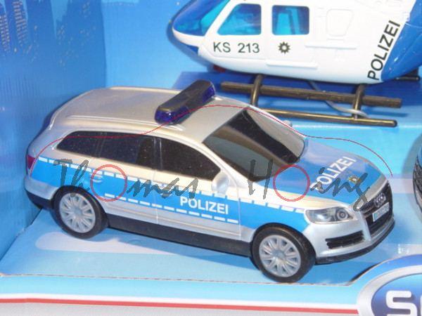 Audi Q7, Mj. 05, silber/blau, POLIZEI, mit Frictionsmotor, Set mit Transporter und Hubschrauber, DIC
