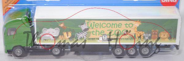 00008 Volvo FH16 750 Globetrotter-XL Koffer-Sattelzug, grün/schwarz/weiß, Welcome to / the ZOO, P29e