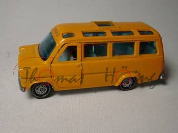Ford Transit (2. Generation, Typ UK Mark 1) Schulbus, Modell 1971-1978, orange, SCHULBUS vorne, Glas
