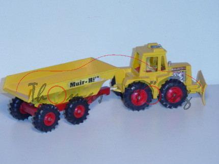 Muir-Hill 161 Tractor & Trailer, safrangelb, Aufkleber Muir-Hill auf der Mulde, Matchbox Super Kings