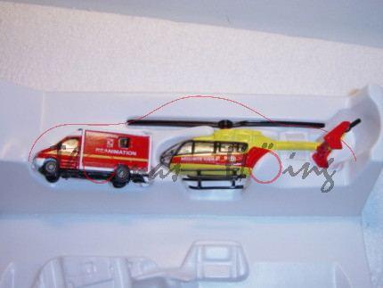 00100 F-Rettungsdienst-Set bestehend aus Mercedes Sprinter und Hubschrauber, rot/weiß und gelb/rot,