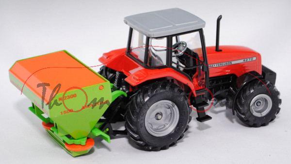 00000 Massey Ferguson 4270 mit Düngerstreuer, verkehrsrot, Streuer gelbgrün, AMAZONE ZA-M MAX / 1500
