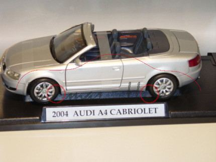 Audi A4 Cabrio, Mj. 2005, lichtsilber, MondoMotors, 1:18, mb